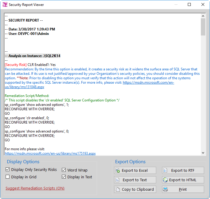 DBA Security Advisor for SQL Server - Screenshot