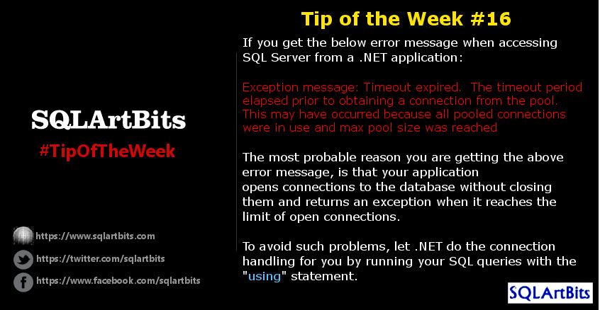 Weekly SQL Server Tip 16 by SQLArtBits