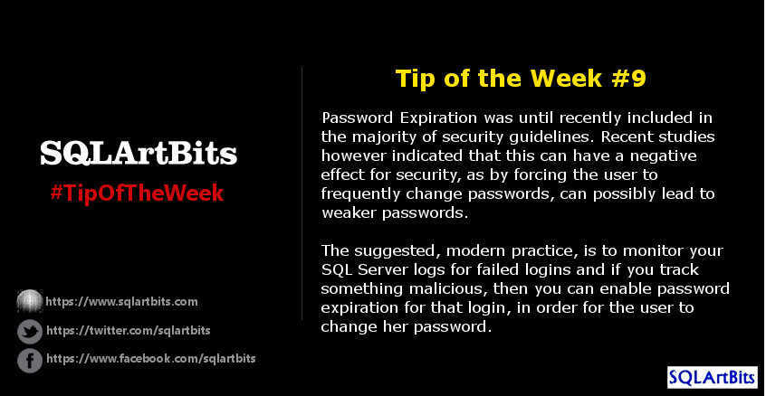 Weekly SQL Server Tip 9 by SQLArtBits