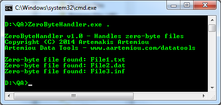Listing zero byte files in local directory (Zero-Byte Handler)